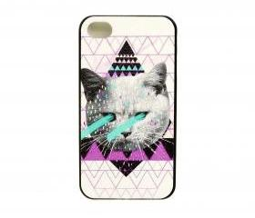 Laser-eyed Cat on Geo Pyramids iPhone 4/4s or 5 Case