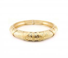 Light Gold Studs and Crosses Adjustable Bangle