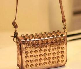 All Studded Shoulder Bag / Handbag / Clutch (Metallic Champagne)