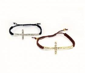 Sparkling Cross Adjustable Bracelet