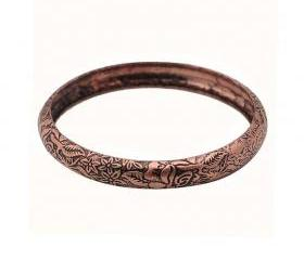 Rose Gold Retro Floral Engraved Bangle