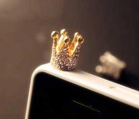 Golden Crown with Rhinestones Earphone Plug / Anti-Dust Cap