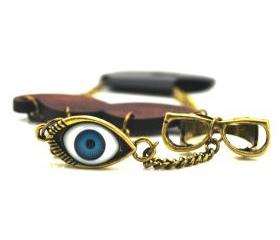 Eye Glasses Moustache Ring & Bracelet
