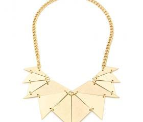 Tribal Retro Gold Triangles Pendant Necklace