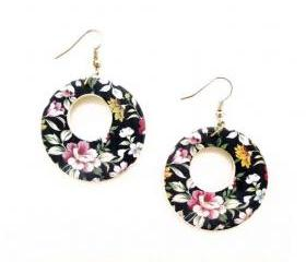 Baroque Floral Hoop Earrings