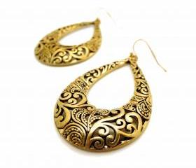 Ethnic Teardrop Floral Engraved Drop Earrings