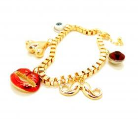 Eye Nose Lips Moustache Golden Charm Bracelet