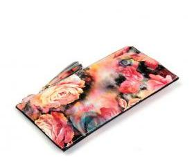 Genuine Leather Pink Roses Oil Painting Purse