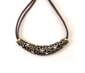Floral Engraved Collar Bar Necklace