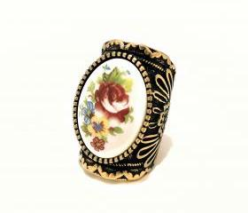 Floral Engraved Rose Ring