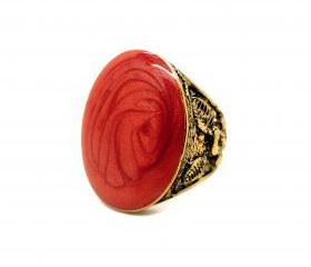 Floral Engraved Enamel Ring