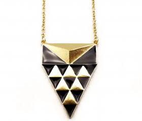 Geo Triangles in Triangle Pyramid Necklace