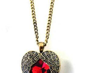 Feather Red Gemstone Heart Necklace