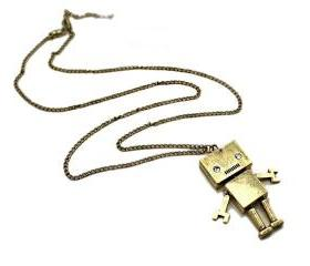 Retro Gold Robot Necklace
