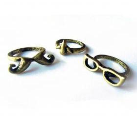 Eye Nose Moustache Ring Set