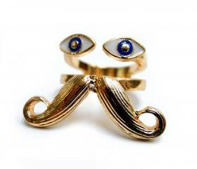 Eye and Moustache Ring