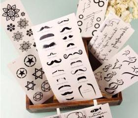 Retro Tattoo Stickers Pack of 9 (Elephants, Moustaches, Cats etc)