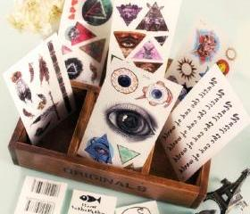 Eyes, Pyramids and Feathers Tattoo Stickers (Pack of 9!)