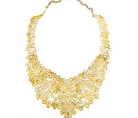 Gold Tone Hollow Out Collar Necklace